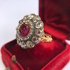 5.87ctw Antique Burmese Ruby and Diamond Cluster Ring GIA No-Heat 2