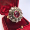 5.87ctw Antique Burmese Ruby and Diamond Cluster Ring GIA No-Heat 0