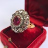 5.87ctw Antique Burmese Ruby and Diamond Cluster Ring GIA No-Heat 14