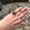 5.87ctw Antique Burmese Ruby and Diamond Cluster Ring GIA No-Heat 18