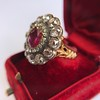 5.87ctw Antique Burmese Ruby and Diamond Cluster Ring GIA No-Heat 5