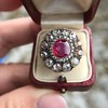 5.87ctw Antique Burmese Ruby and Diamond Cluster Ring GIA No-Heat 16