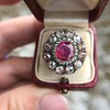 5.87ctw Antique Burmese Ruby and Diamond Cluster Ring GIA No-Heat 1