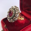 5.87ctw Antique Burmese Ruby and Diamond Cluster Ring GIA No-Heat 26