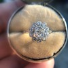1.25ctw Antique Cushion Cut Cluster Ring, French 18