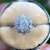 1.25ctw Antique Cushion Cut Cluster Ring, French 11