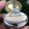 1.25ctw Antique Cushion Cut Cluster Ring, French 4