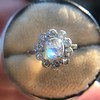1.25ctw Antique Cushion Cut Cluster Ring, French 21