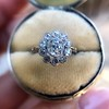 1.25ctw Antique Cushion Cut Cluster Ring, French 14