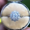 1.25ctw Antique Cushion Cut Cluster Ring, French 5