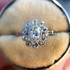 1.25ctw Antique Cushion Cut Cluster Ring, French 9