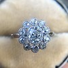 1.25ctw Antique Cushion Cut Cluster Ring, French 0