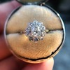 1.25ctw Antique Cushion Cut Cluster Ring, French 26