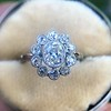 1.25ctw Antique Cushion Cut Cluster Ring, French 10