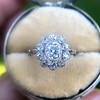 1.25ctw Antique Cushion Cut Cluster Ring, French 13