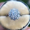 1.25ctw Antique Cushion Cut Cluster Ring, French 12