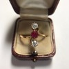 .55ctw Antique Diamond & Ruby (syn) Vertical Trilogy Ring 8