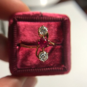 .55ctw Antique Diamond & Ruby (syn) Vertical Trilogy Ring