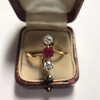 .55ctw Antique Diamond & Ruby (syn) Vertical Trilogy Ring 4