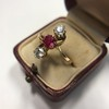 .55ctw Antique Diamond & Ruby (syn) Vertical Trilogy Ring 16