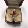 .55ctw Antique Diamond & Ruby (syn) Vertical Trilogy Ring 13