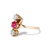 .55ctw Antique Diamond & Ruby (syn) Vertical Trilogy Ring 1