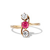 .55ctw Antique Diamond & Ruby (syn) Vertical Trilogy Ring 0