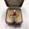 .55ctw Antique Diamond & Ruby (syn) Vertical Trilogy Ring 14