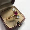 .55ctw Antique Diamond & Ruby (syn) Vertical Trilogy Ring 15