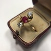 .55ctw Antique Diamond & Ruby (syn) Vertical Trilogy Ring 6