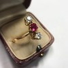.55ctw Antique Diamond & Ruby (syn) Vertical Trilogy Ring 10