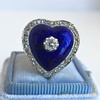 Antique Diamond and Enamel Puffed Heart Ring 10