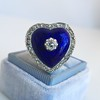Antique Diamond and Enamel Puffed Heart Ring 4