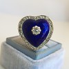 Antique Diamond and Enamel Puffed Heart Ring 0