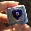 Antique Diamond and Enamel Puffed Heart Ring 16