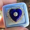 Antique Diamond and Enamel Puffed Heart Ring 18