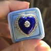 Antique Diamond and Enamel Puffed Heart Ring 15