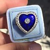 Antique Diamond and Enamel Puffed Heart Ring 3