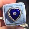 Antique Diamond and Enamel Puffed Heart Ring 23