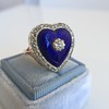 Antique Diamond and Enamel Puffed Heart Ring 25