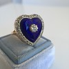 Antique Diamond and Enamel Puffed Heart Ring 5
