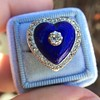 Antique Diamond and Enamel Puffed Heart Ring 2