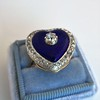 Antique Diamond and Enamel Puffed Heart Ring 13