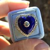 Antique Diamond and Enamel Puffed Heart Ring 14