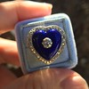 Antique Diamond and Enamel Puffed Heart Ring 17