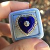 Antique Diamond and Enamel Puffed Heart Ring 12