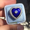 Antique Diamond and Enamel Puffed Heart Ring 26