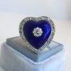 Antique Diamond and Enamel Puffed Heart Ring 24