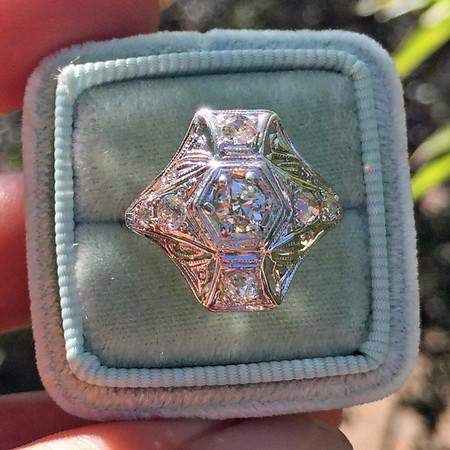 .77ctw Antique Old European Cut Diamond Plaque Ring