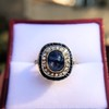 2.77ct Antique Sapphire Halo Ring, with AGL cert 20